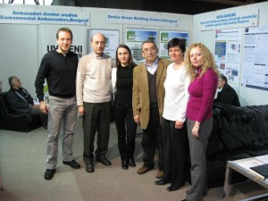 IBPSA-Danube members from Romania and Serbia at the IBPSA stand